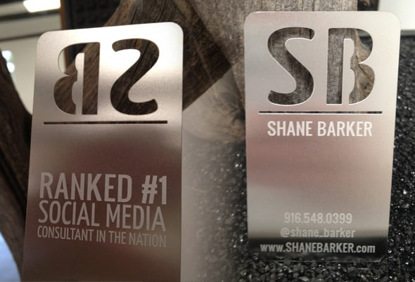 shane barker metal business card