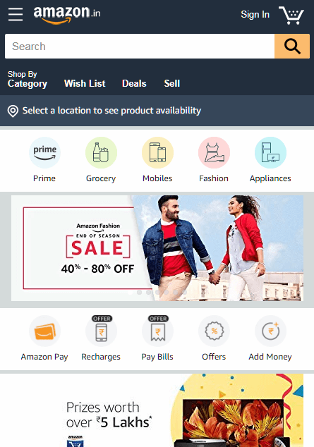 Amazon Ecommerce Website Design