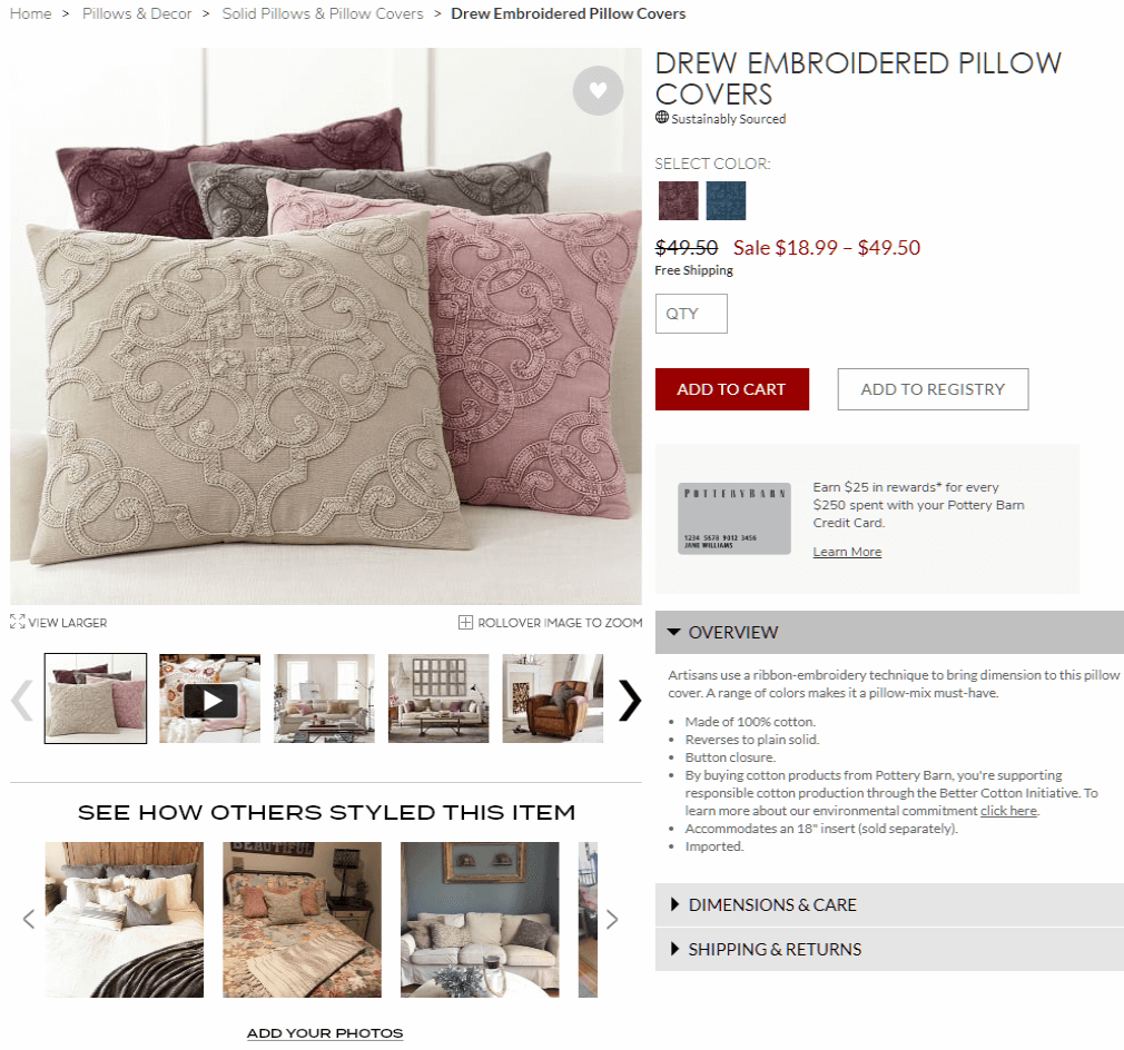 Pottery Barn Ecommerce Website Design