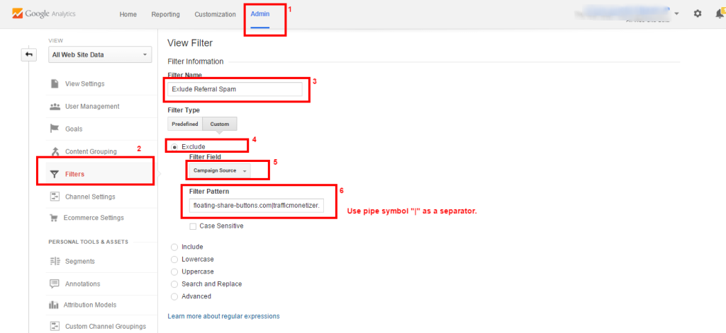 Google Analytics FIlter Referral Spam