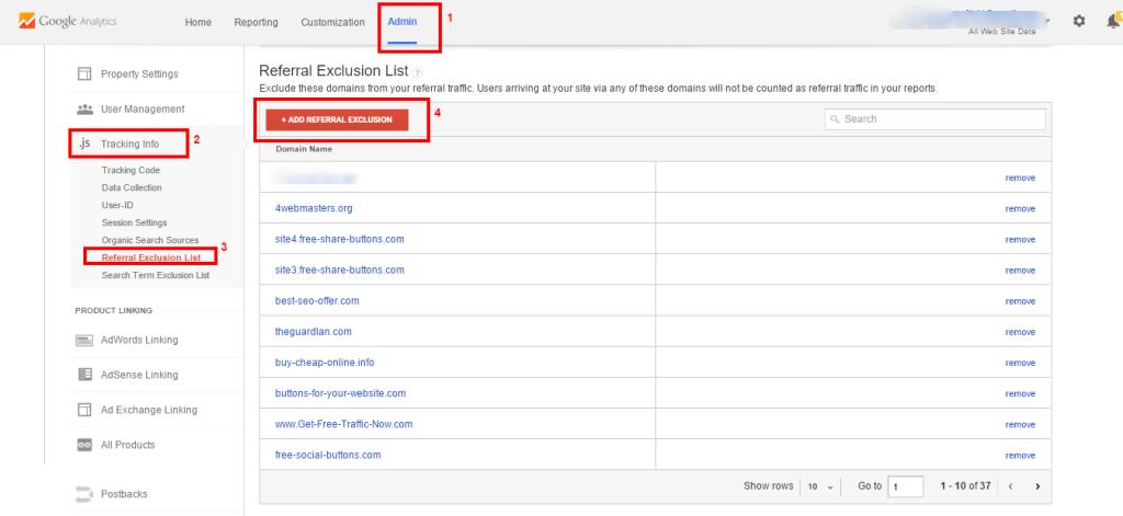Google Analytics referral exclusion list Referral Spam