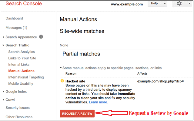 google hacked websites manual action