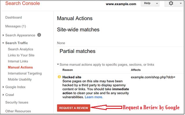 google hacked websites manual action