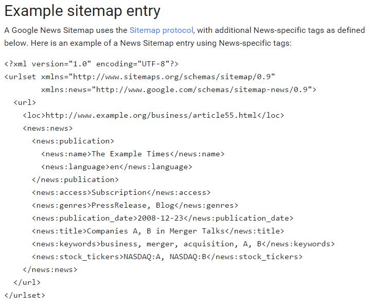 Google news sitemap example fomat