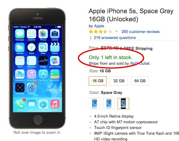 Display stock limitation idea by Amazon - Scarcity Tactics