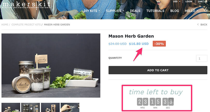 Scarcity tactic example of countdown timer