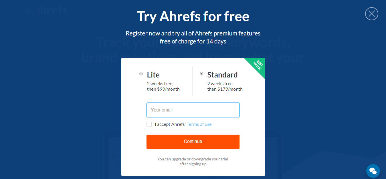 Ahrefs - free trial option - Saas promotion