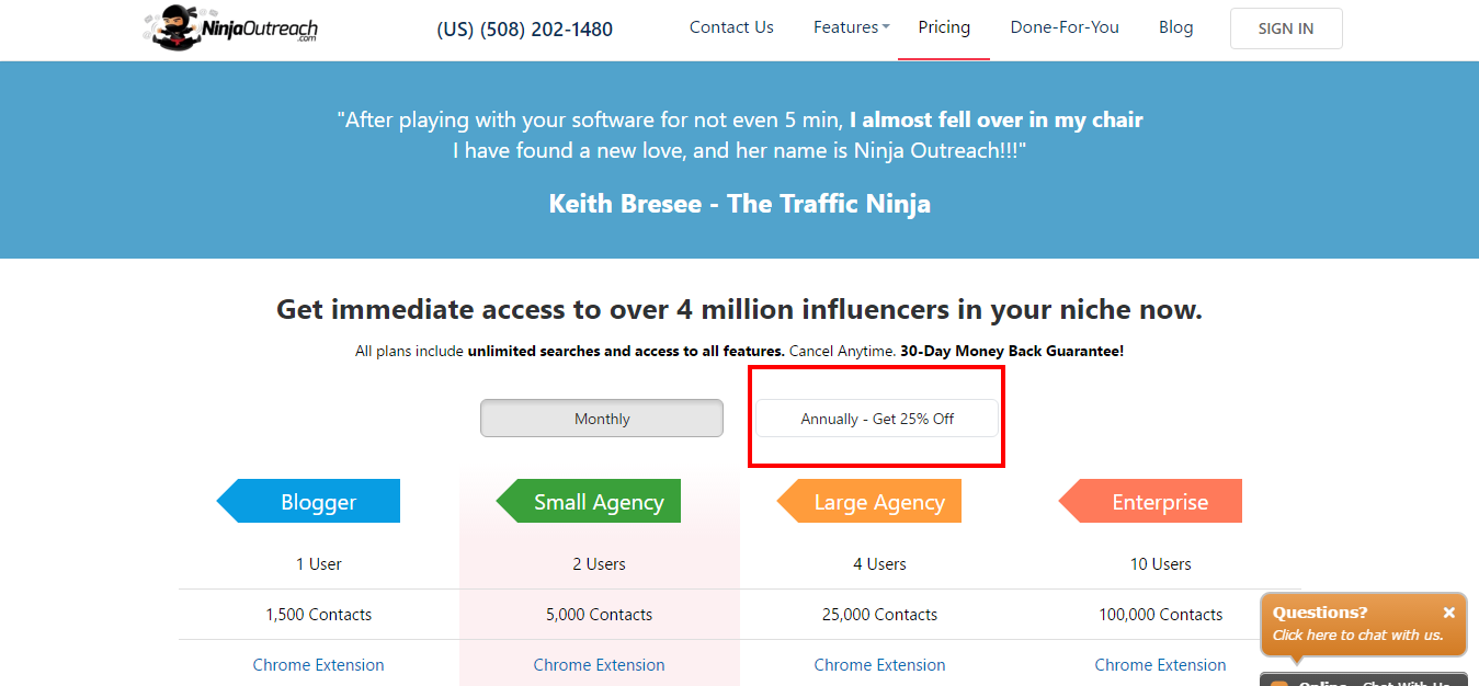 Pricing Features - Ninja outreach - good deals - saas strategies
