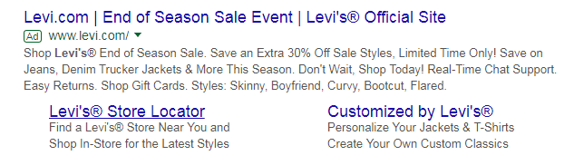 Levi's pages Click-Through Rate