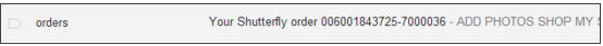 Shutterfly sends an email for order