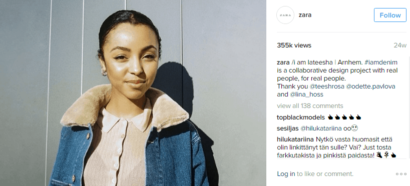 zara - influencer marketing examples