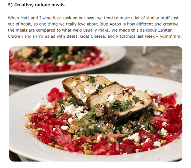 meals - influencer marketing examples