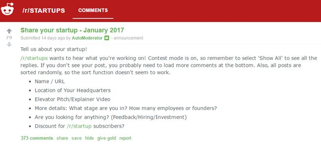 Reddit Share Your Startups product launch marketing ideas