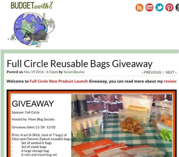 Budget Earth Blog Influencer Giveaway product launch marketing ideas