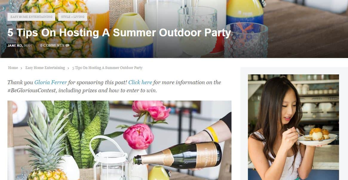 Gloria Ferrer post - Influencer marketing case studies