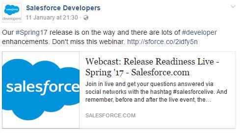 Salesforce Facebook product launch marketing ideas