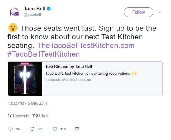 Taco Bell Twitter profile
