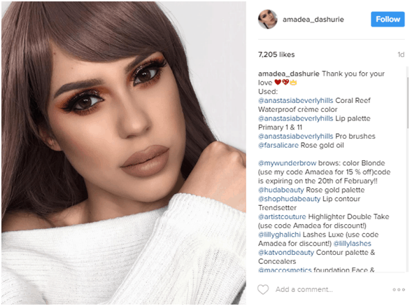 Amandea Dashurie Instagram account - Influencer