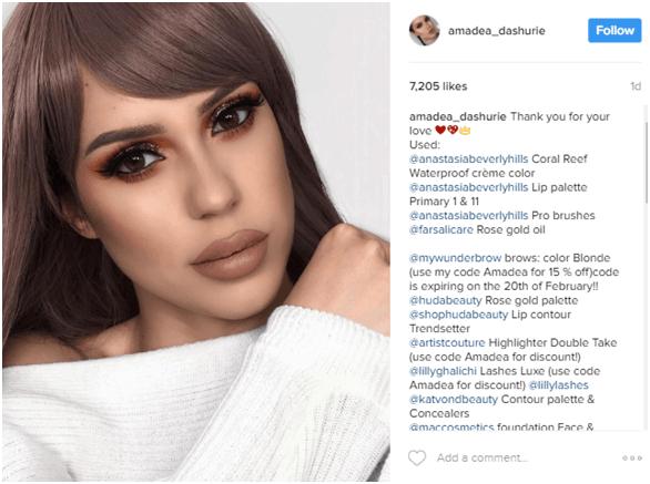 Amandea Dashurie Instagram account - Micro vs. Macro Influencer Marketing