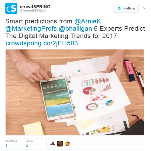 Crowdspring Influencer Roundup Post tweet - Content Marketing Tips