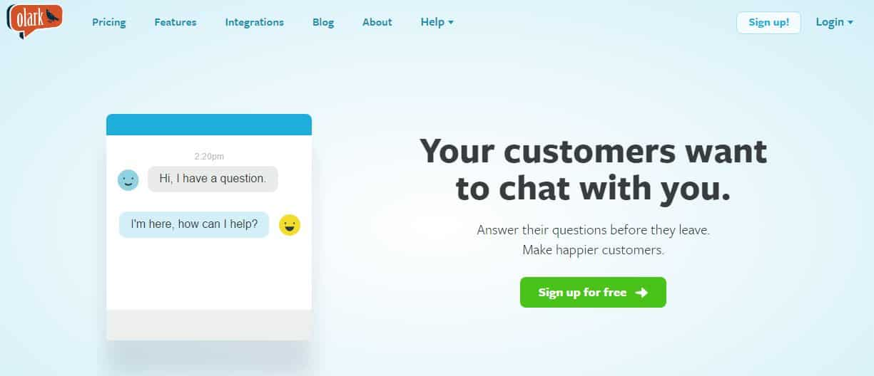 testing CTA from Olark - A/B Testing to Improve Your CRO