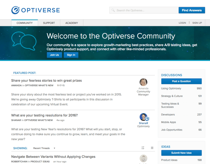 Optimizely case study on complete redesign Optiverse - A/b Testing