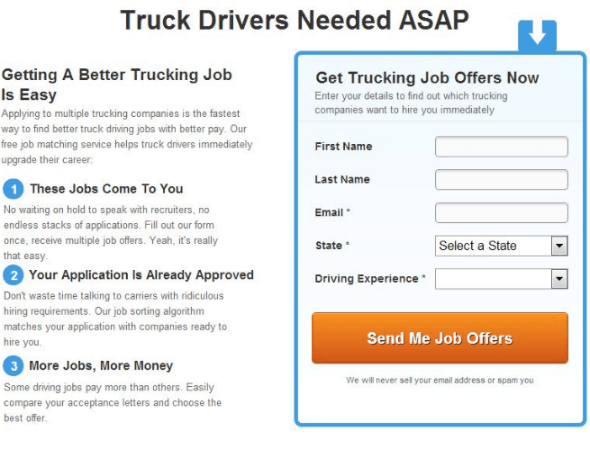 Truckers Report website AB testing