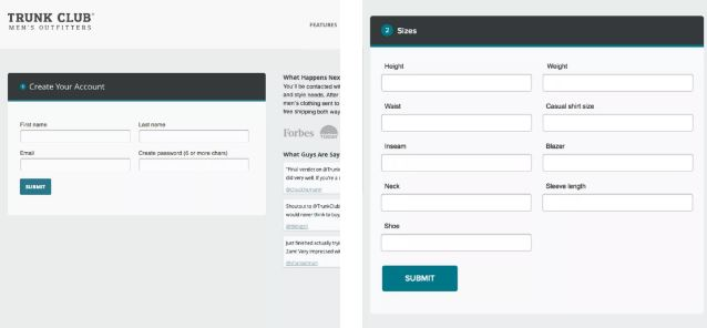 Trunk Club sign-up form testing - A/B Testing to Improve Your CRO