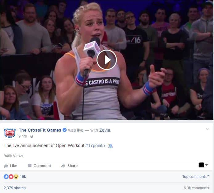 CrossFit Games live streamed on Facebook - live videos on social media