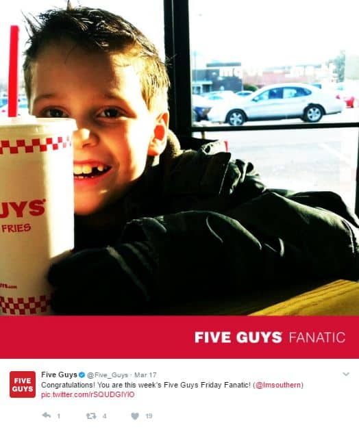 Five Guys Fanatic Tweets - social media engagement tactics