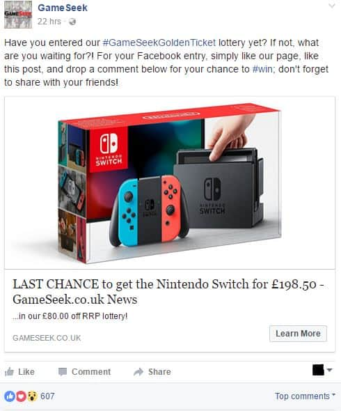 GameSeek Facebook page - increase engagement on Facebook