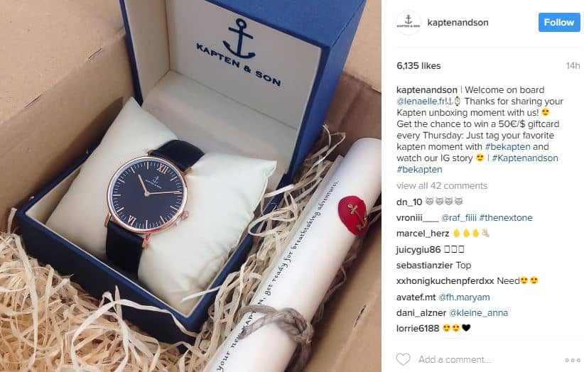 Kapten and Son Instagram post - social media engagement