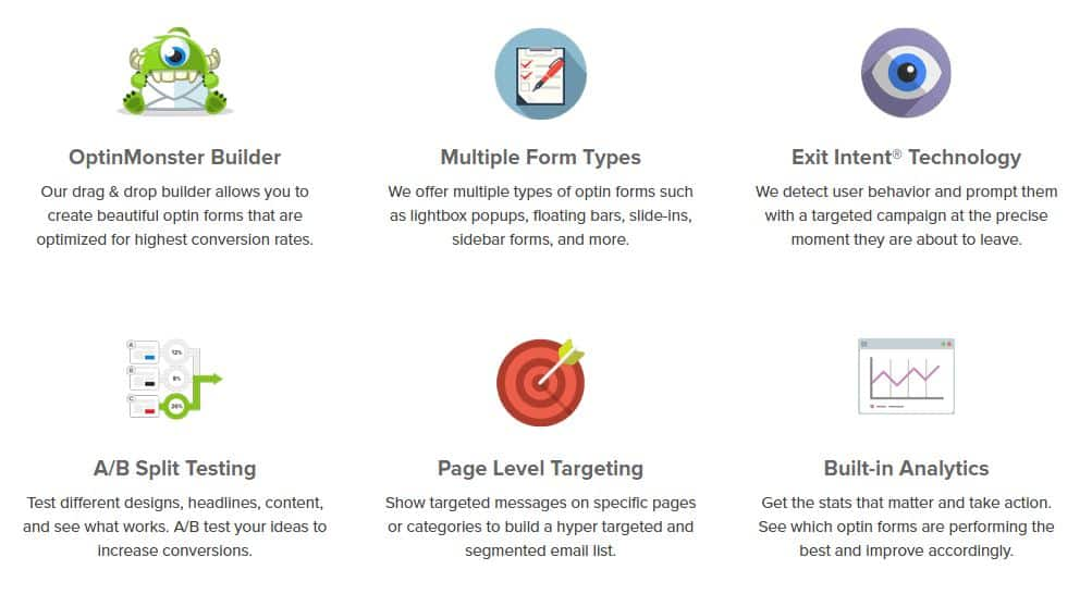 OptinMonster uses fun graphics on landing page - A/B Testing to Improve Your CRO