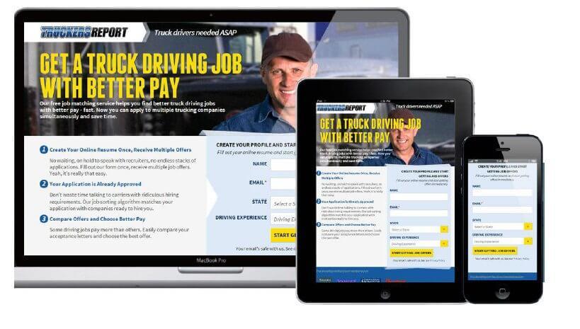 truck new website design website AB testing