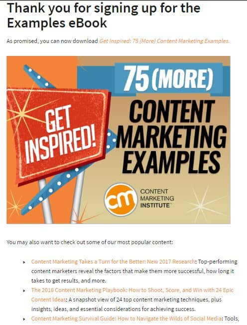 Components of Sales Funnel lead nurturing thank you page cmi