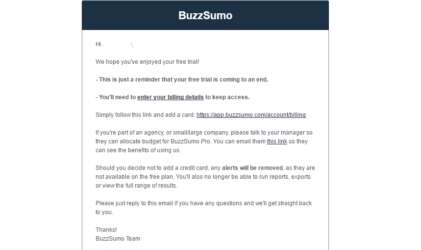 Components of Sales Funnel lead nurturing email reminders buzzsumo
