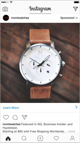 MVMT Watches instagram - retargeting customers