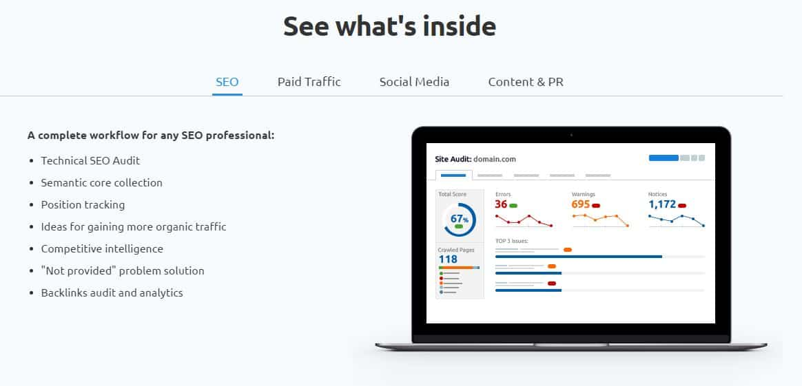 SEMrush homepage - Components of Sales Funnel