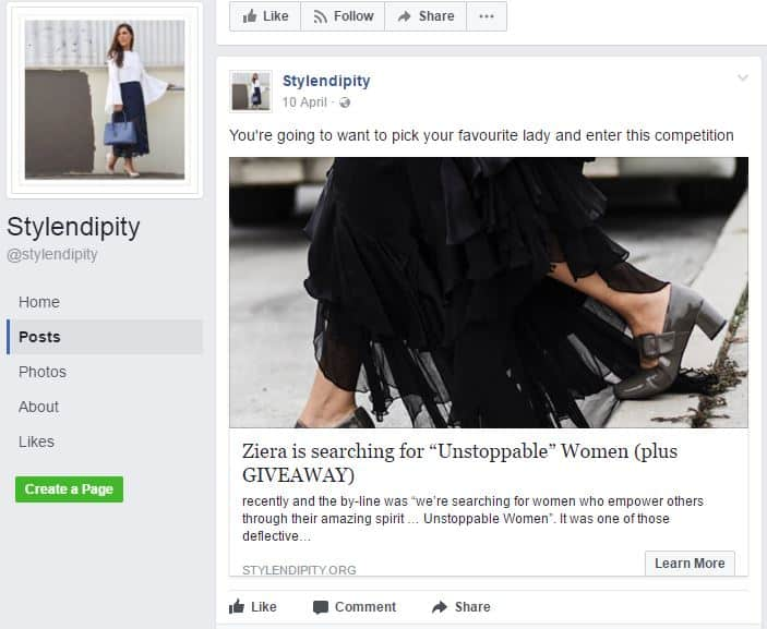 stylendipity facebook influencer marketing
