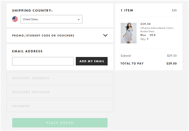 Checkout Page - shopping cart abandonment