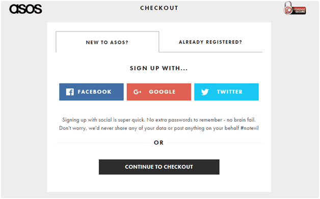 ASOS Checkout Page - shopping cart abandonment