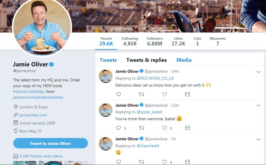 Jamie Oliver twitter influencers
