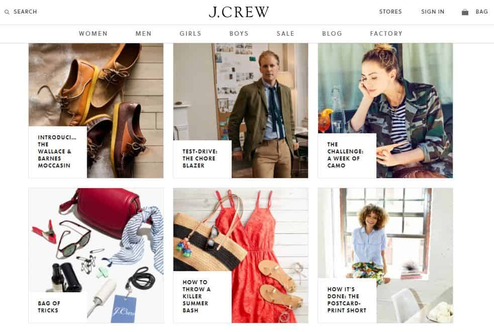 J.Crew optimize your content