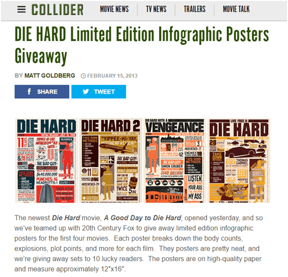 Die Hard movie graphics successful product launch