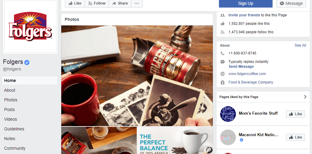 Folgers Facebook profile - Influencer Marketing Statistics