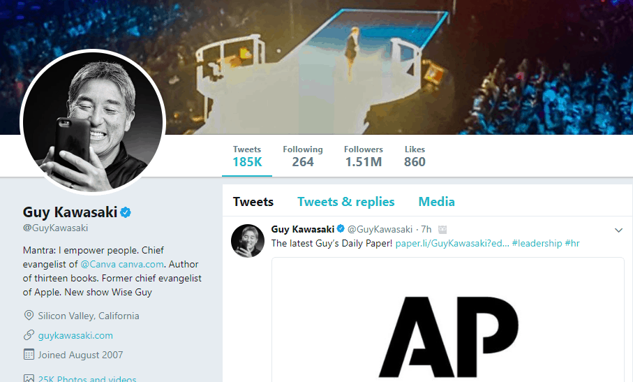 Guy Kawasaki Twitter profile
