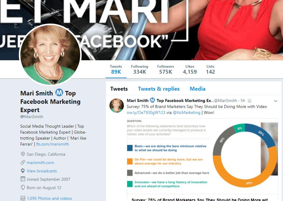 Mari Smith Twitter profile