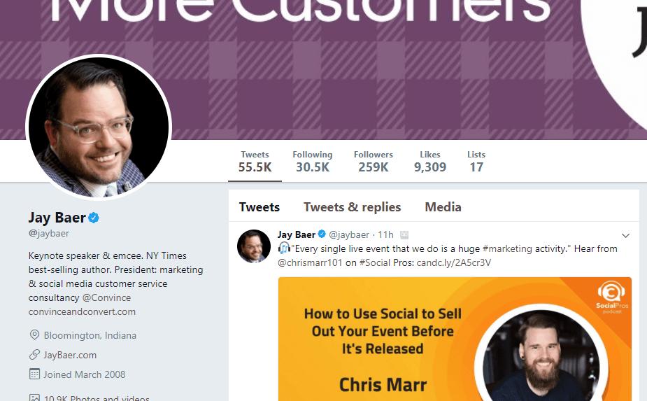 Jay Baer Twitter profile