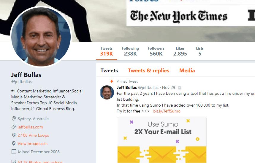 Jeff Bullas Twitter profile