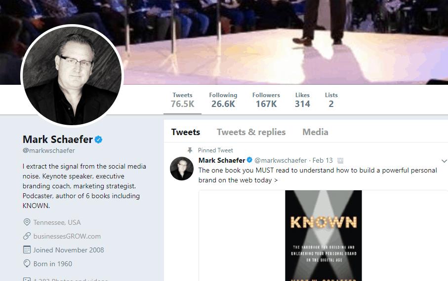 Mark Schaefer Twitter profile